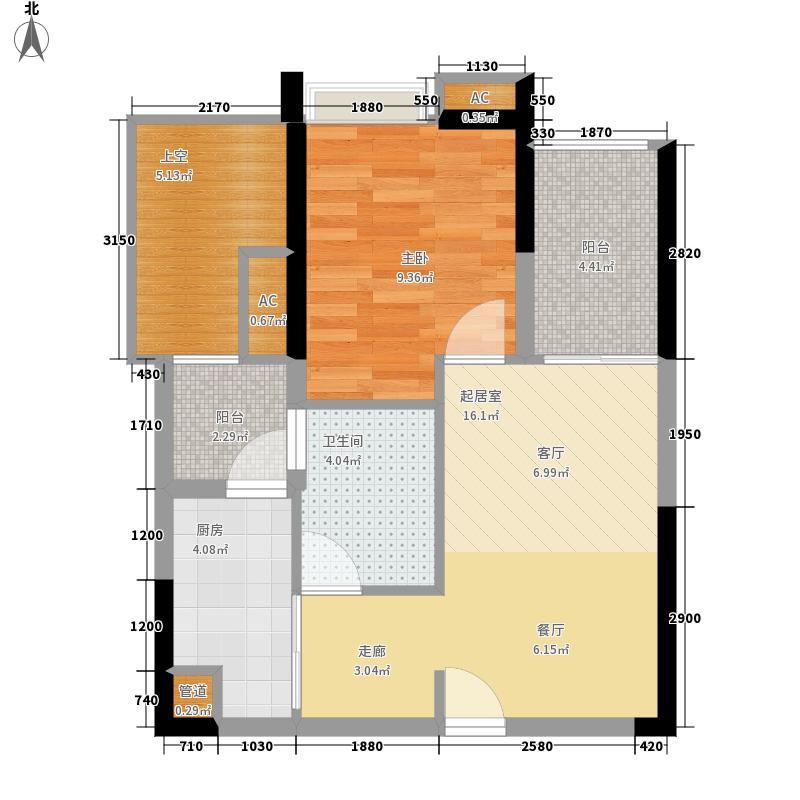 中海誉城55.00㎡A15栋06户型1室2厅