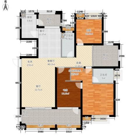 中海胥江府3室1厅2卫1厨160.00㎡户型图