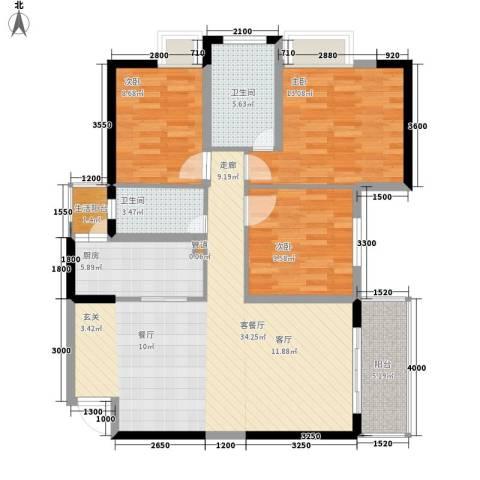 都和广场3室1厅2卫1厨94.00㎡户型图