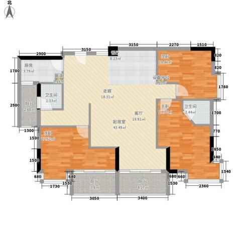 誉轩3室0厅2卫1厨141.00㎡户型图