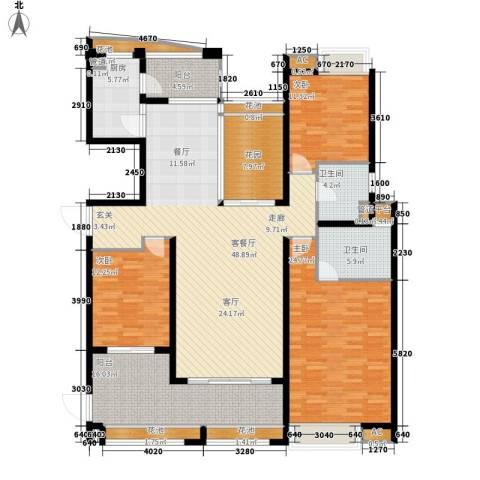 中海胥江府3室1厅2卫1厨170.00㎡户型图