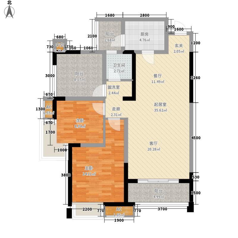 华宇龙湾83.36㎡一期高层33#楼标准层E3户型