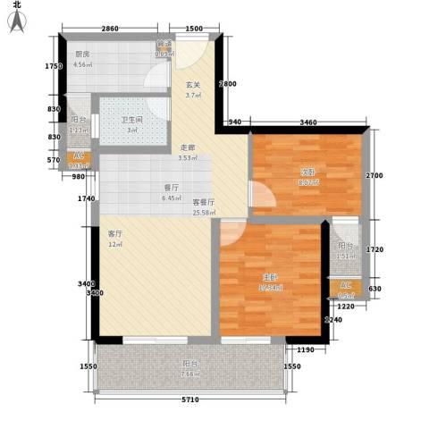 都和广场2室1厅1卫1厨66.00㎡户型图