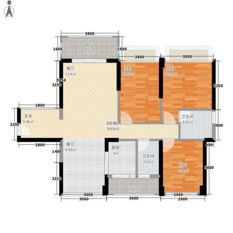 怡安皇庭3室0厅2卫1厨99.00㎡户型图