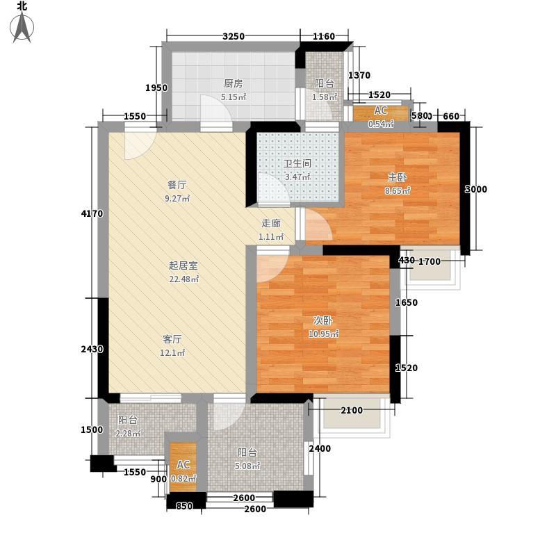 华宇龙湾84.40㎡高层F5单卫户型2室2厅