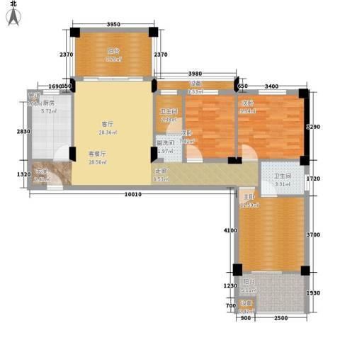 共和世家3室1厅2卫1厨109.00㎡户型图
