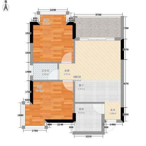 誉轩2室0厅1卫1厨75.00㎡户型图