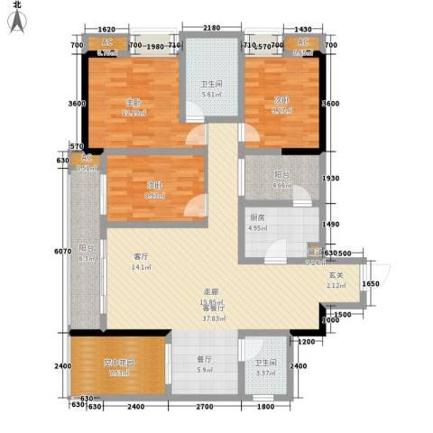 都和广场3室1厅2卫1厨104.00㎡户型图
