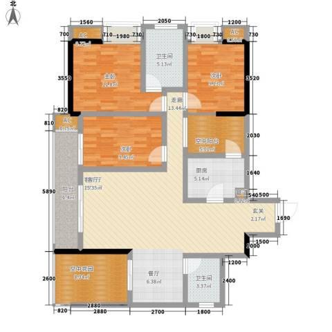 都和广场3室1厅2卫1厨105.00㎡户型图
