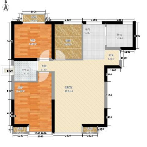 海棠别馆2室0厅1卫1厨76.02㎡户型图