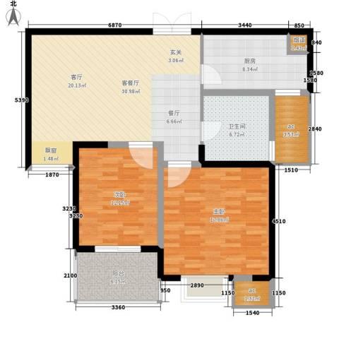 唐园假日新城2室1厅1卫1厨99.00㎡户型图