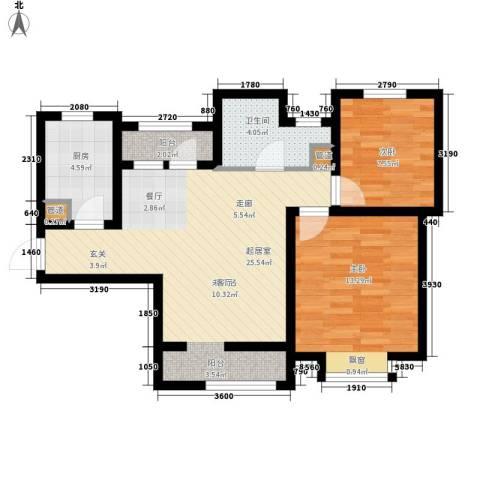 北辰新天地盛景湾2室0厅1卫1厨92.00㎡户型图