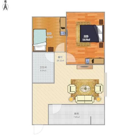 柳景家园2室1厅1卫1厨70.00㎡户型图