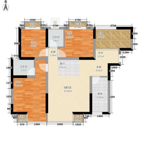 海棠别馆3室0厅2卫1厨92.50㎡户型图