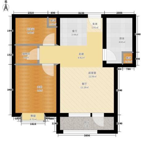 北辰新天地盛景湾1室0厅1卫1厨74.00㎡户型图