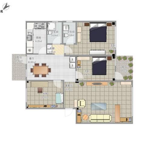 金龙花园3室1厅2卫1厨118.00㎡户型图