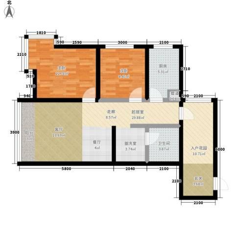 西城首府2室0厅1卫1厨104.00㎡户型图