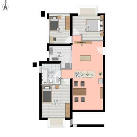 招商依山郡3室1厅1卫1厨90.00㎡户型图