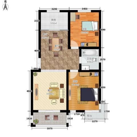 甲辰巷2室1厅1卫1厨88.00㎡户型图