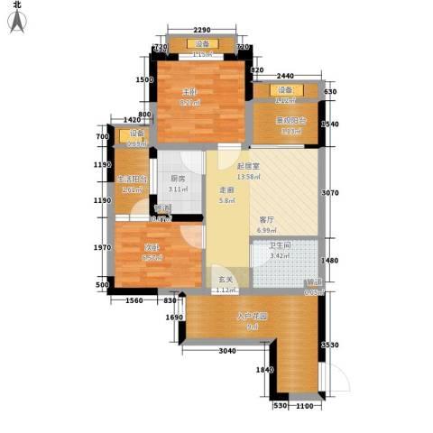 重庆国际家纺城绣色2室0厅1卫1厨52.73㎡户型图