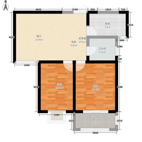 枫景湾家园2室0厅1卫1厨92.00㎡户型图