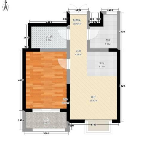 枫景湾家园1室0厅1卫1厨71.00㎡户型图