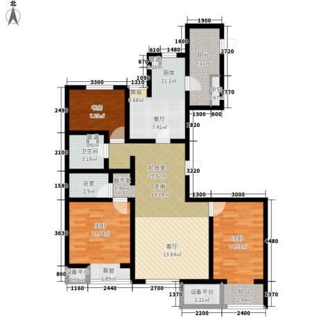 弘泽鉴筑3室0厅1卫1厨126.00㎡户型图