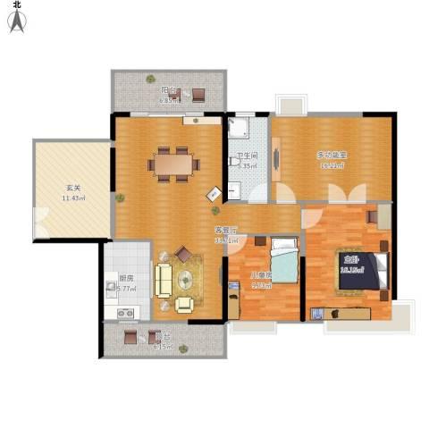 明景・江南世家2室1厅1卫1厨152.00㎡户型图