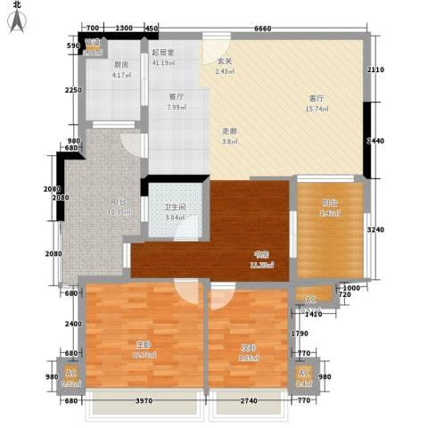 森林公园壹号2室0厅1卫1厨98.00㎡户型图