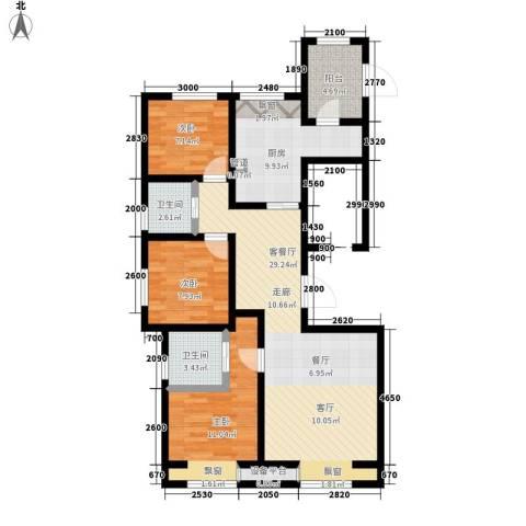 弘泽鉴筑3室1厅2卫1厨117.00㎡户型图