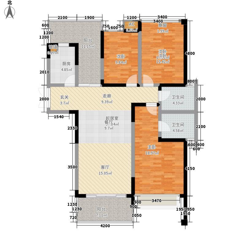 中渝爱都会117.41㎡三期8号楼D5户面积11741m户型