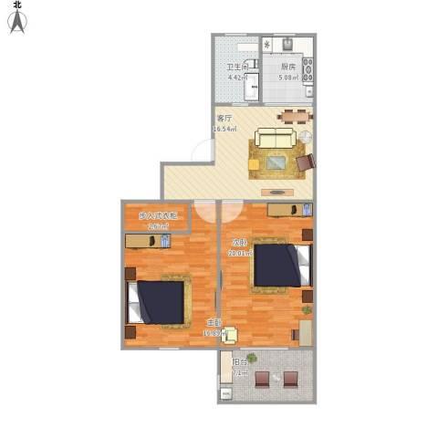 航华一村2室1厅1卫1厨98.00㎡户型图