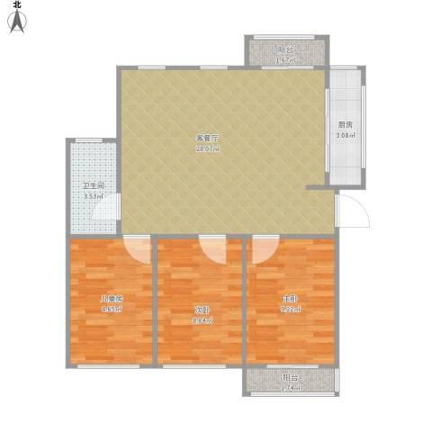 沁富佳苑3室1厅1卫1厨88.00㎡户型图