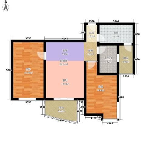 宝龙湾家园2室0厅1卫1厨96.00㎡户型图