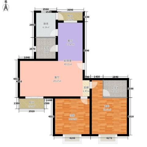 宝龙湾家园2室0厅2卫1厨123.00㎡户型图