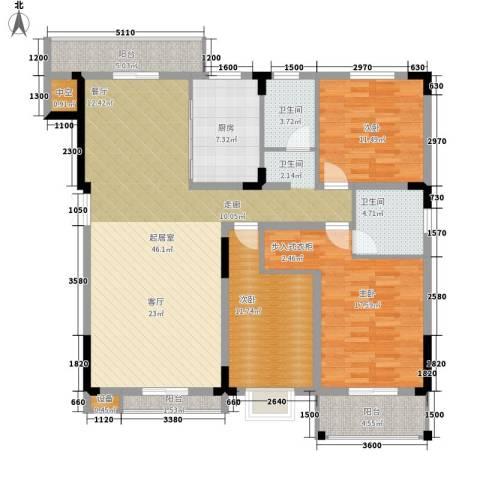 汇城上筑3室0厅2卫1厨130.97㎡户型图