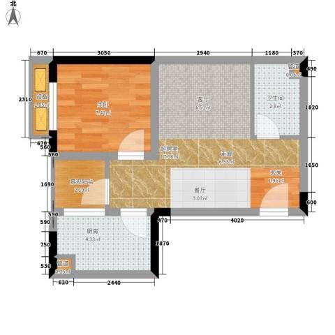 重庆国际家纺城绣色1室0厅1卫1厨38.00㎡户型图