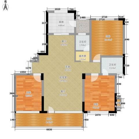 新芙蓉之都3室0厅2卫1厨90.00㎡户型图