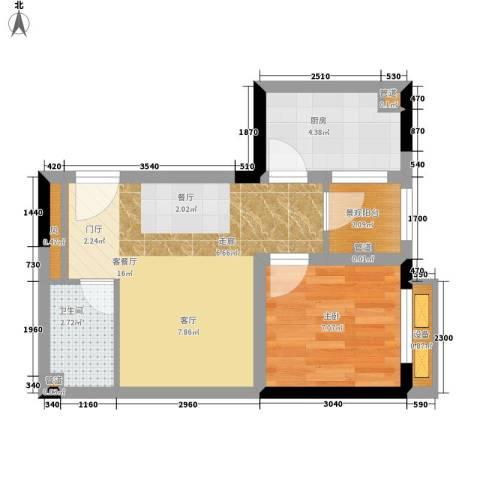 重庆国际家纺城绣色1室1厅1卫1厨37.00㎡户型图
