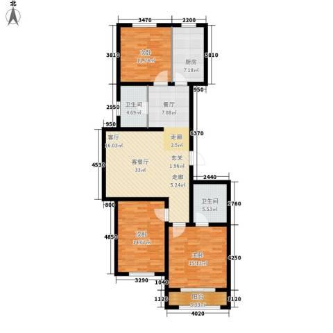 左岸公园3室1厅2卫1厨108.00㎡户型图