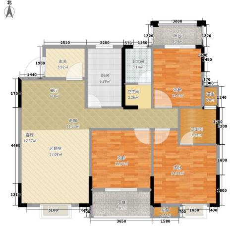 长城南雅名居3室0厅2卫1厨121.00㎡户型图