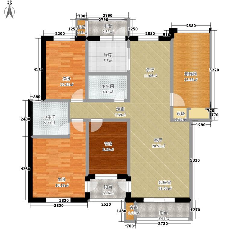 朝阳绿茵 朝阳上品三室两厅两位 131.42-131.57平米户型