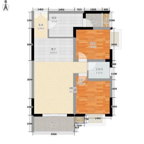 船舶云湖绿岛2室0厅1卫1厨76.50㎡户型图
