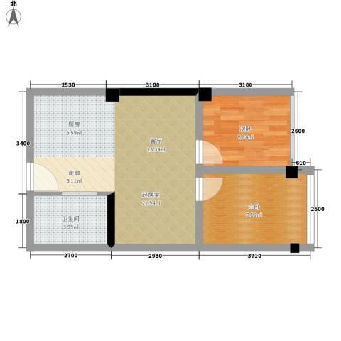 雍晟时代公馆2室0厅1卫0厨51.00㎡户型图