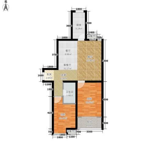 江林新城2室1厅1卫1厨100.00㎡户型图