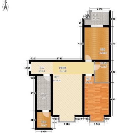 辰龙・香树湾2室0厅1卫1厨85.00㎡户型图
