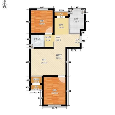 金色玺园2室1厅1卫1厨94.00㎡户型图