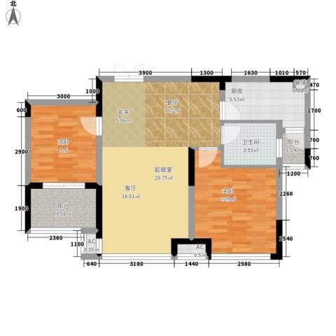 升华公园懿品2室0厅1卫1厨98.00㎡户型图