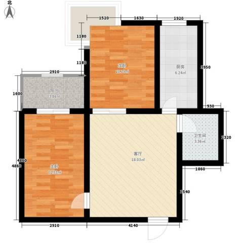 龙祥御湖2室1厅1卫1厨73.00㎡户型图