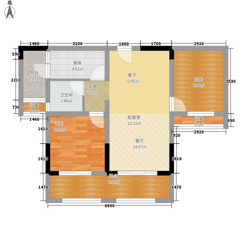金科廊桥水乡高层项目B2户型2室2厅